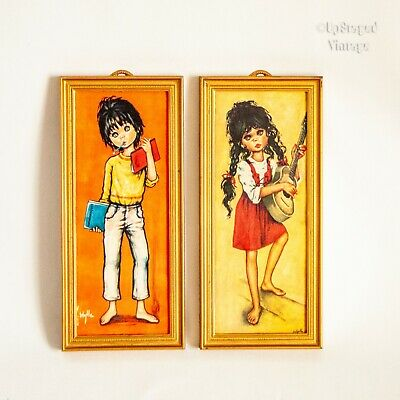 Vintage Pair of Kitsch 1960s/70s Wide Eyed Girl/Boy Prints by F Idylle Jolylle F