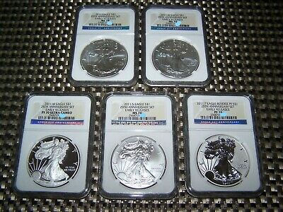 2011 AMERICAN SILVER EAGLE 25th ANNIVERSARY SET MS/PF 70 NGC EARLY RELEASE