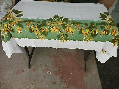 "Vintage California Hand Prints Tablecloth Yellow Fuschia  Flowers 52"" x 65"""