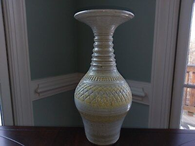 Shirley T. Denison Ceramic Pottery Vase Large Tall Yellow American Artist Signed