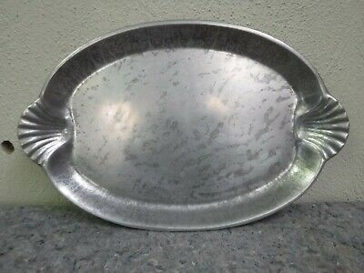 The Wilton Co Vintage Pewter Tray-Fauna Oval Tray W/ Scallop Sea Shell Handles