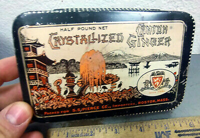 vintage Crystallized Canton Ginger tin (empty) great graphics & colors SS Pierce