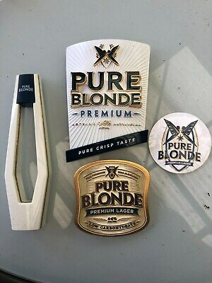 Beer tap handle, label, font and badge Pure Blonde lot Breweriana