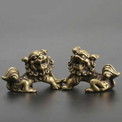 Chinese Collection old Asian Brass lion Exquisite hand piece statue A PAIR