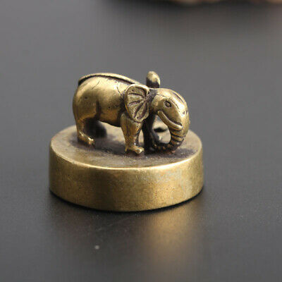 Chinese Collection old Asian Antiques Brass Elephant Exquisite seal statue C2