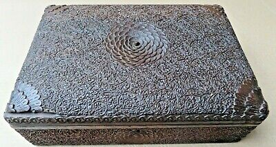 Antique Jewelry Box  Walnut Wood Handcrafted Kashmir Fine Deep Carving 1920-40
