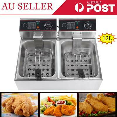 Commercial Deep Fryer Double Electric Basket Benchtop Cooker NEW Stainless Steel