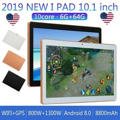 10.1 Inch HD Game Tablet 6G+64GB PC 10 Core Android 8.0 GPS 3G Dual Camera US