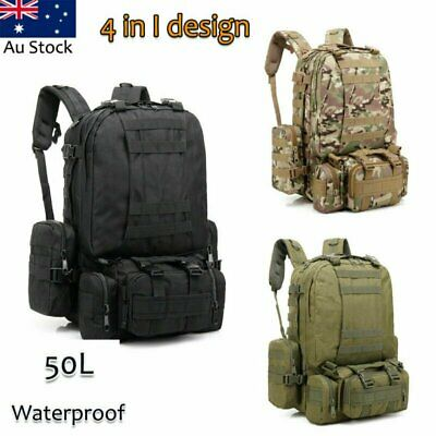 50L Men Large Military Tactical Backpack Camping Cycling Hiking Travel Sport Bag