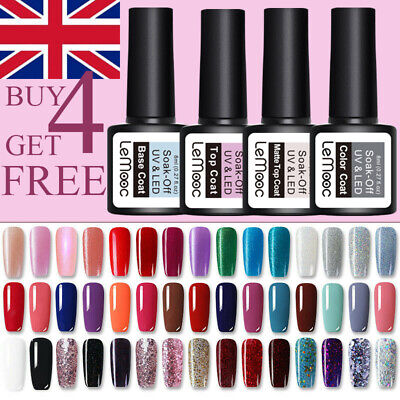 LEMOOC 8ml Nail UV Gel Polish Soak off Top Coat Base Coat Nail Art BUY 4 GET 4