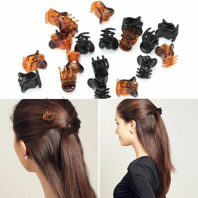 12pcs 2 Colors 1.5cm Small Mini Plastic Black Hair Clips Claws Clamps In UK