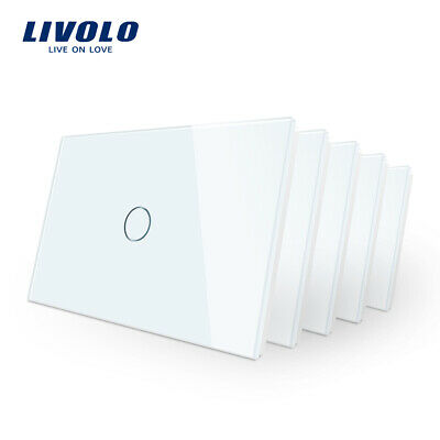 5 Pcs LIVOLO Touch Wall Switch Crystal Glass Touch Light Switch AU Standard