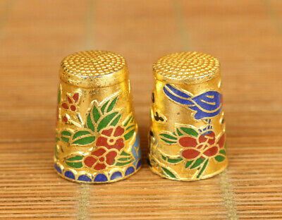 Antiques china old cloisonne Handcarved pair flower bird statue thimble gift