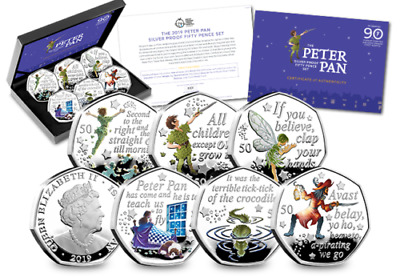 The Official Peter Pan Silver Proof 50p Coloured Coin Set  SOLD OUT