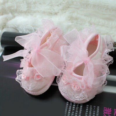 Sweet Baby Girl Newborn Infant Toddler Non-Slip Lace Flower Shoes Pink 0- XAP