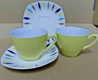 pair Midwinter Pottery Cherokee tea cups and saucers yellow british tableware