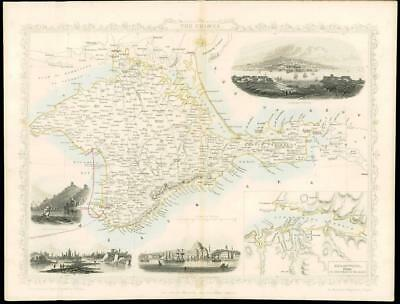 """1850 - Illustrated Original Antique Map of """"THE CRIMEA"""" Turkey  by Tallis (75d)"""