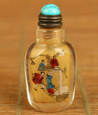 mini Chinese old glass hand painting peasant foison noble snuff bottle delicate