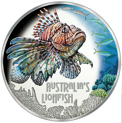 1 Ounce Silver Proof Lionfish Feuerfisch Deadly & Dangerous Tuvalu 2019
