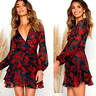 Womens Deep V Neck Wrap Front Mini Dress Floral Ruched Ruffle Swing Skater Party