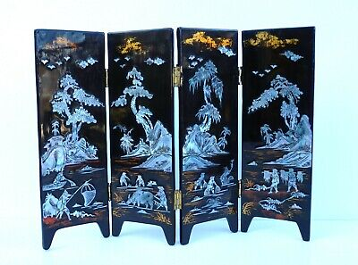 Vintage Miniature Doll Size Chinese Lacquered Screen Mother of Pearl Goldfish