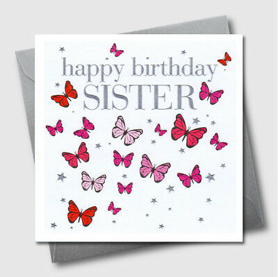 Happy Birthday Greeting Card Butterfly For Her Girl Daughter Sister Mum Embossed