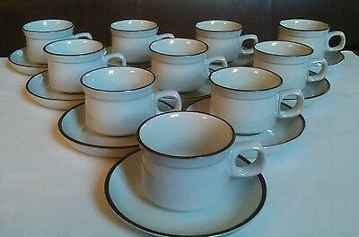 Set of 10 Denby Summit Pattern Teacup and Saucer