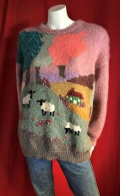 Vintage Sussan Knitwear Retro Sheep & Fields Acrylic & Mohair Ugly Jumper S-M-L