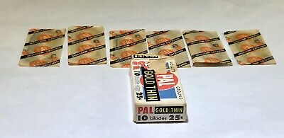 6 -Vintage- PAL HOLLOW GROUND -GOLD THIN- Razor Blades - Sealed with Box -Unused