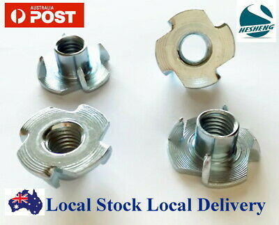 M4 M5 M6 M8 M10 ZP Steel 4 Prong T Nut Tee TNut Blind Timber Wood Insert Nuts