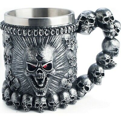 Skull Coffee Mug Beer Mugs Stainless Gothic Skeleton Bone Halloween Steel Metal