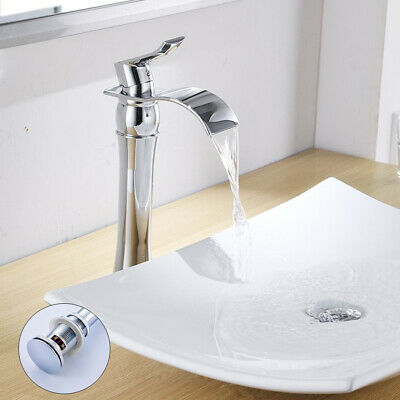 Chrome Tall Bathroom Basin Sink Faucet Waterfall Single Hole Mixer With Drain