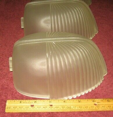3 Antique Art Deco Ribbed Frosted Glass Sconce Slip Shades~Stock Part A3
