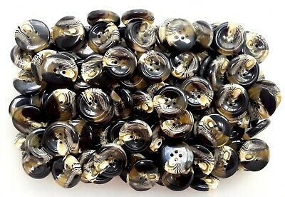 28mm 32mm Dark Chocolate Brown Cream Clear 2 Hole Polished Buttons Q653A Q653B