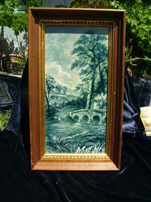 Antique 19Thc. Craven Dunnil Framed Hand Painted English Countryside Tile