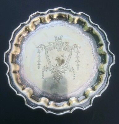 Edwardian Pie Crust Silver Plate Cocktail Wine Tray Lbs Co Epns Superfine