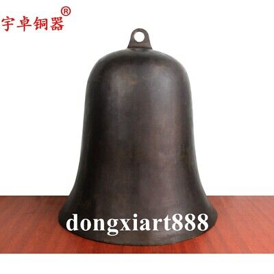 28 cm Chinese Buddhism Temple Pure Bronze Copper church Hang Buddha round bell