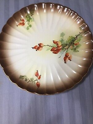 Warwick China Round Serving Platter Budding Floral Design Cream And Brown