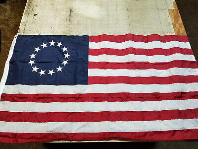 2x3' Embroidered Betsy Ross USA 200D Sewn Nylon Flag Banner - Annin