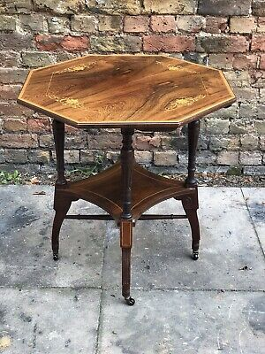 Victorian Rosewood Marquetry Inlaid Table Probably By James Shoolbred & Co