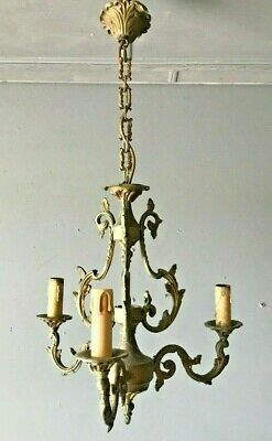 Ornate Antique French Vintage Bronze & Brass Chandelier REWIRED in VGC
