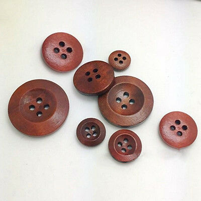 KQ_ BL_ 50Pcs 4 Holes Wooden Round Buttons Clothing Buttons DIY Sewing Craft Cha