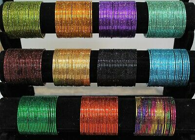 Indian Pakistani Kids Metallic Bangles With Sparkle 24 Chudiya Girls chudi