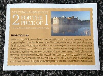 2-4-1 Treasure Houses Of England Voucher (Days Out)**Not Valid At Leeds Castle**