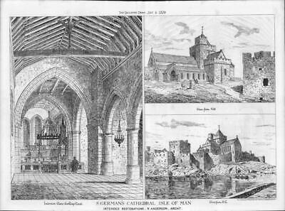 1879  Antique Print ARCHITECTURE Isle Of Man St German's Cathedral Anderson (33)