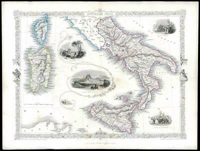 """1850 Illustrated Antique Map """"SOUTHERN ITALY"""" Sicily Sardinia by TALLIS (132d)"""