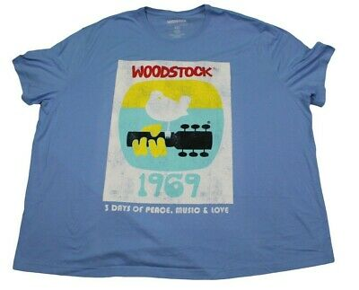 Woodstock 1969 Original Concert Fan T-Shirt Mens Light Blue Retro Big & Tall Tee