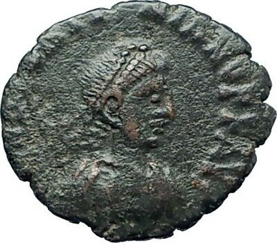 THEODOSIUS II 425AD Authemtic  Ancient Roman Coin Cross within wreath  i79286