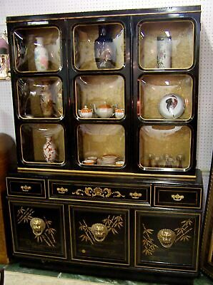 Antique Art Deco Chinoiserie China Cabinet Breakfront Secretary/Desk