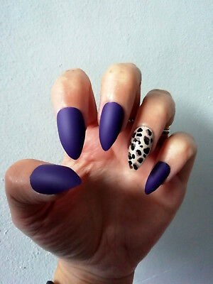 Hand Painted False Nails, Purple Matte, Leopard Print, Coffin, Stiletto ANY